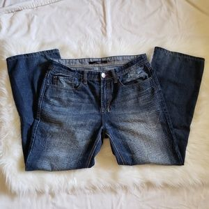 Faded and Whiskered Relaxed Fit Jeans, 33 x 32